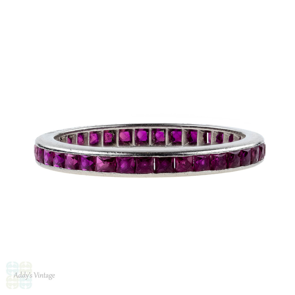 1940s French Cut Synthetic Ruby Eternity Ring. Platinum Channel Set Full Hoop Band. Size L.25 / 6.