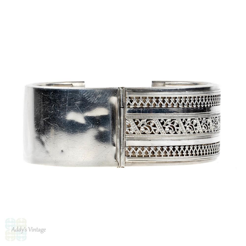 Vintage Silver Bracelet, Pierced Foliate Design Wide Sterling Bangle.