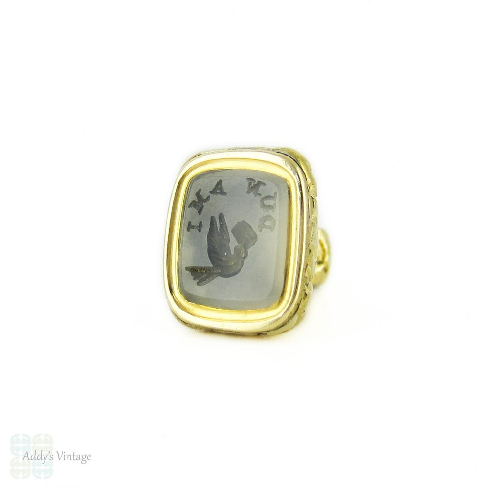 Antique Victorian Gold Filled Seal, Bird Carrying a Letter, D'UN AMI Intaglio Fob.