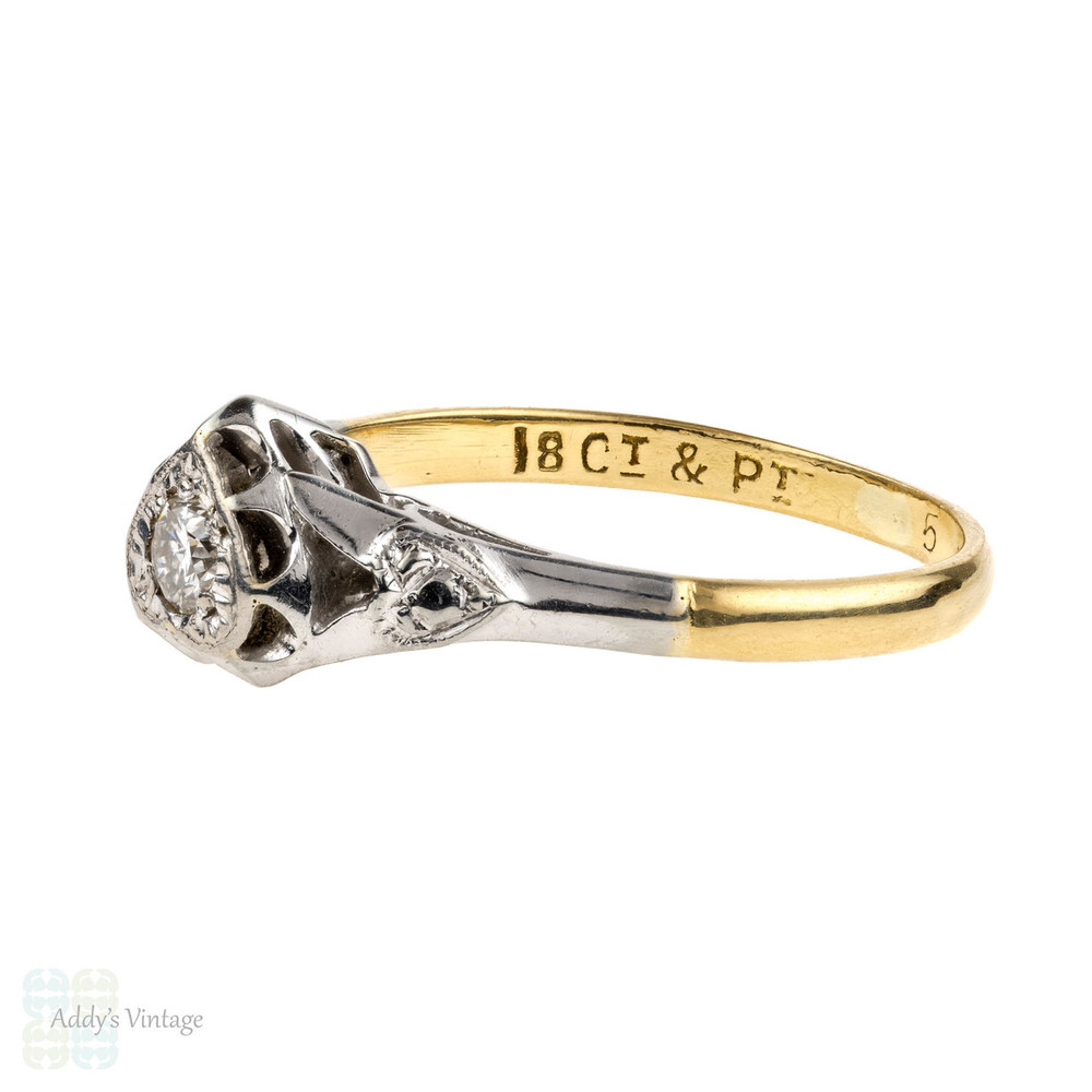 Heart Engagement Ring, Vintage Single Stone Diamond Ring. 18ct & Platinum, Circa 1940s.
