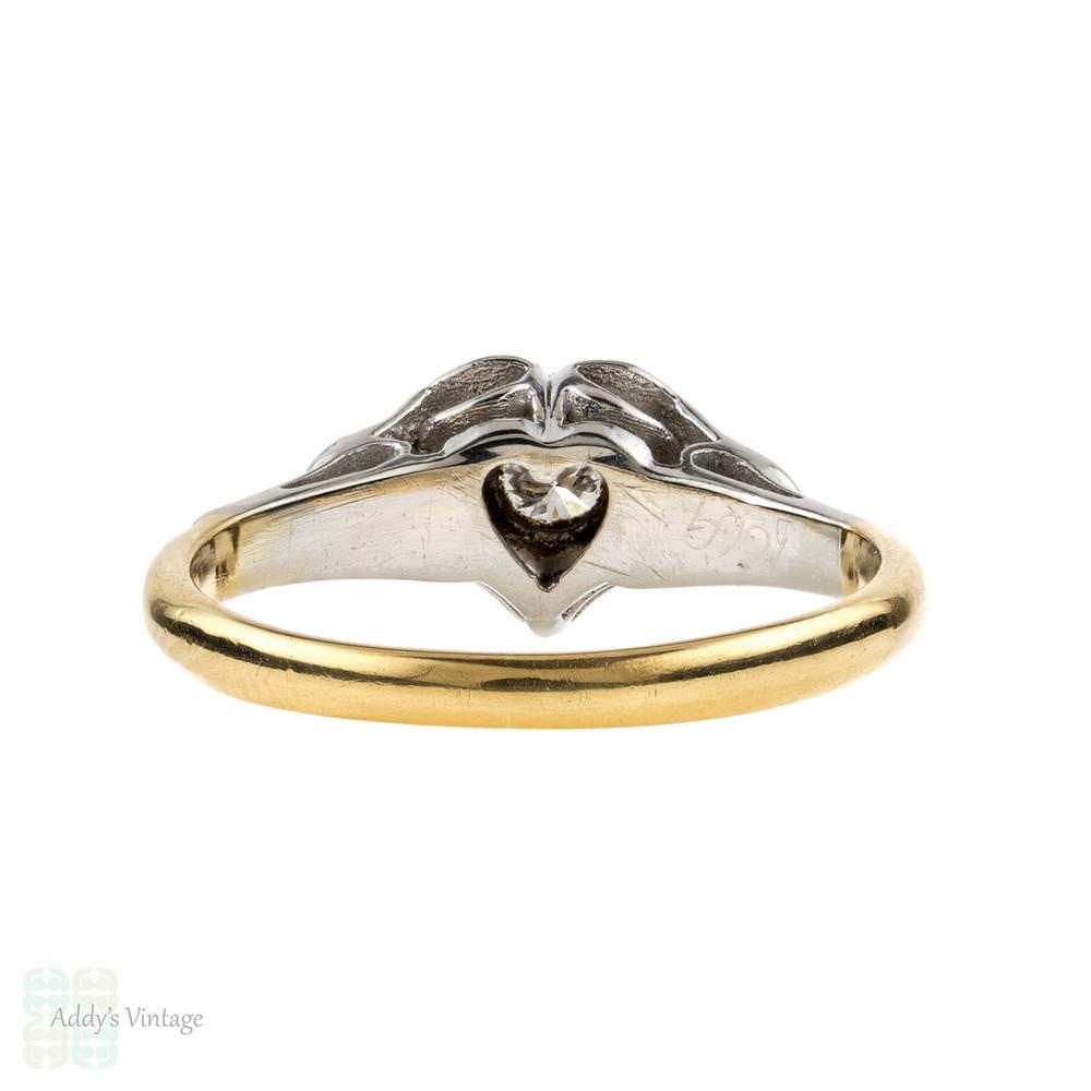 Heart Engagement Ring, Vintage Single Stone Diamond Ring. 18ct & Platinum, Circa 1940s.