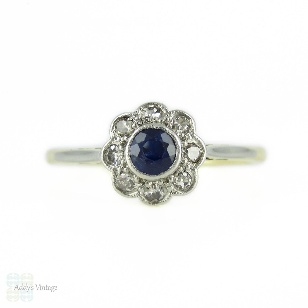 1920s Sapphire & Diamond Cluster Ring, Daisy Shaped Engagement Ring in 18ct & Platinum.