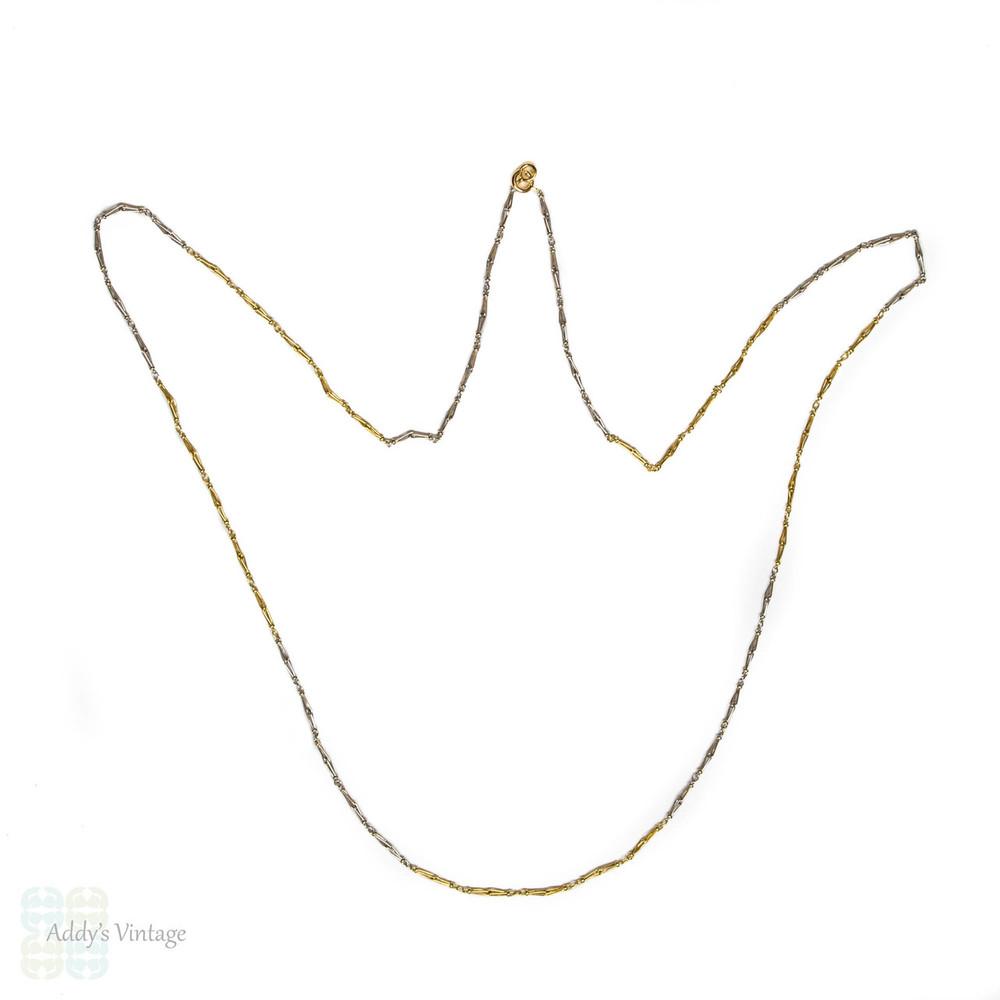 Antique 18ct Gold & Platinum Chain, Long Fancy Link Necklace. Circa 1910s.
