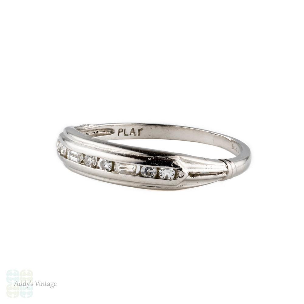 Platinum Diamond Wedding Ring, Vintage Baguette & Round Half Hoop Eternity Band. Circa 1930s.