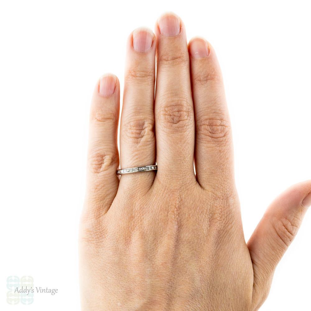 Antique French Cut Diamond Eternity Ring, Channel Set Platinum Wedding Band. Circa 1900, Size N.5 / 7.