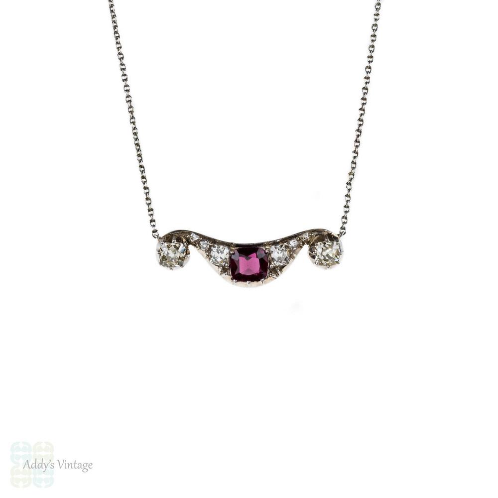 Antique Ruby & Old Mine Cut Diamond Pendant, Victorian Necklace on Platinum Chain.