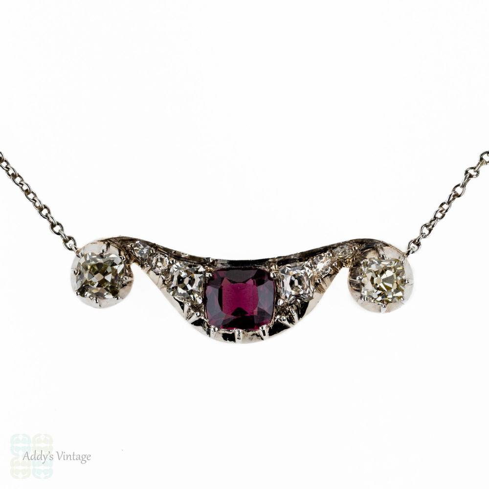 Antique Ruby & Old Mine Cut Diamond Pendant, Victorian Necklace on Platinum Chain.