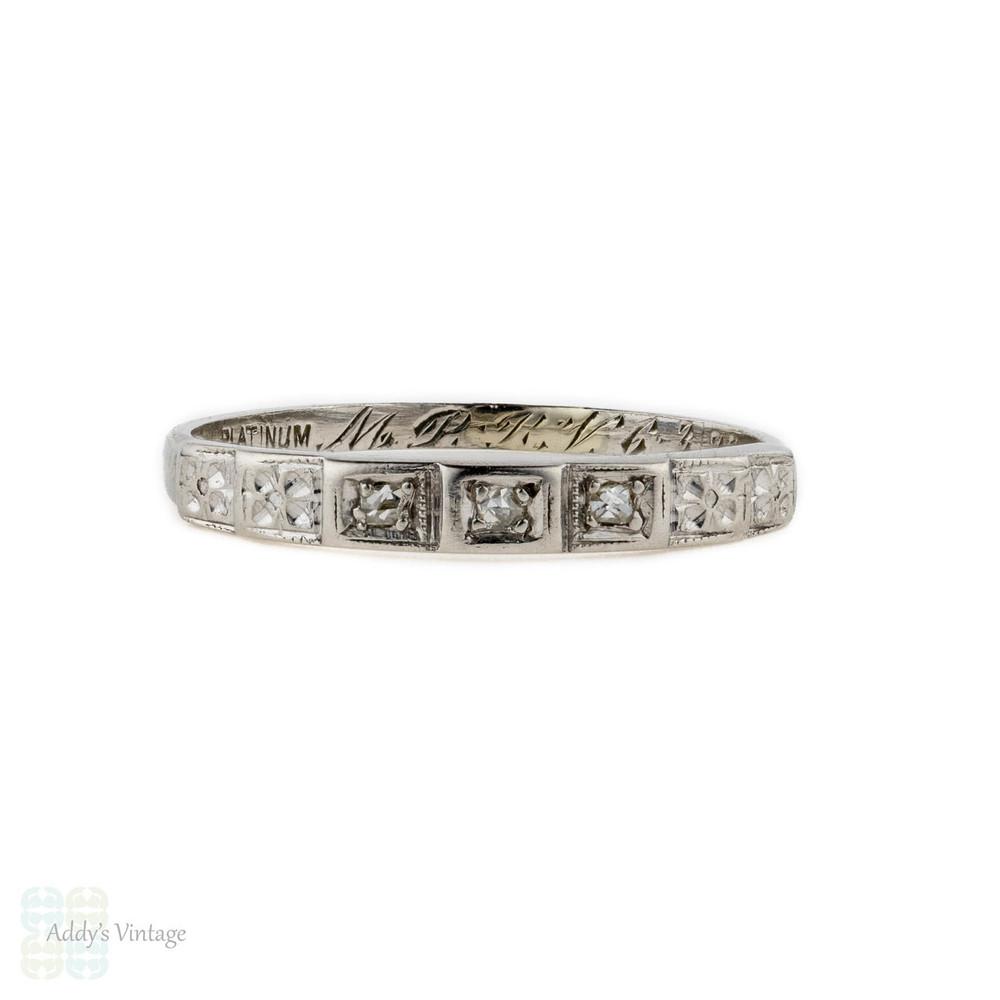 Rose Cut Diamond Wedding Ring, Art Deco Three Stone Diamond Ring Engraved with Flowers. Platinum, Circa 1930s.