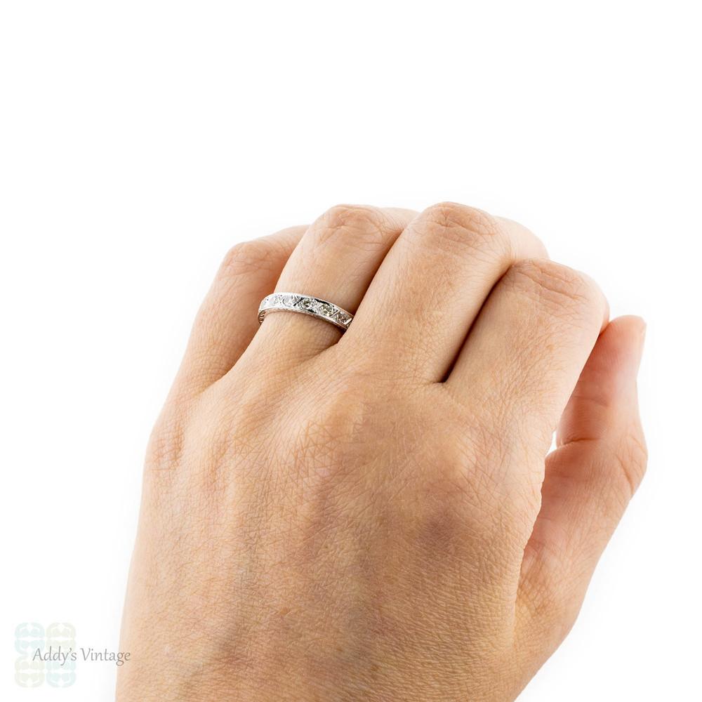 Art Deco Diamond Eternity Ring, 18ct White Gold Engraved Diamond Band. Size M / 6.25.