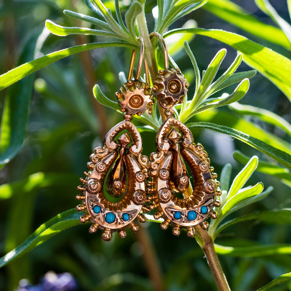 Antique Articulated 9ct Drop Earrings. Victorian Tapered 9k Dangles with Turquoise Paste.