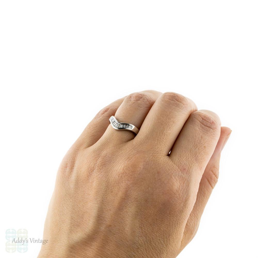 Curved Baguette Diamond Wedding Band, Platinum Half Hoop Wishbone Shaped Ring.