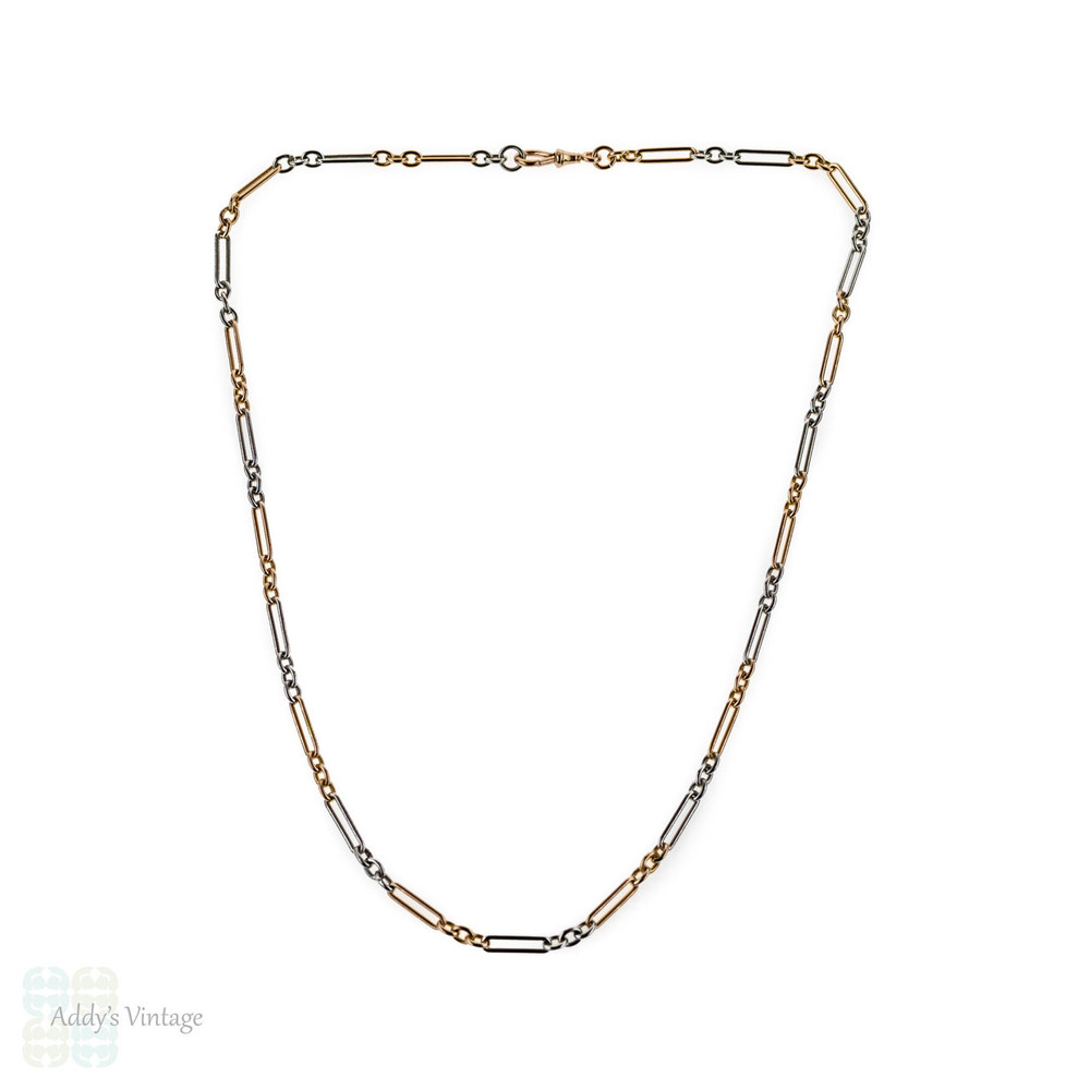 Antique 15ct Rose Gold & Platinum Oblong Link Chain, 46 cm / 18 inches, 18 grams.
