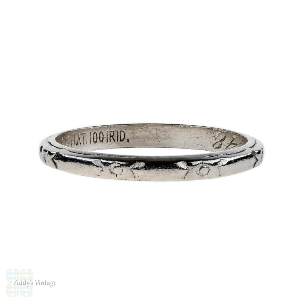 1940s Engraved Platinum Wedding Ring Flower Engraved Band Size J5 525
