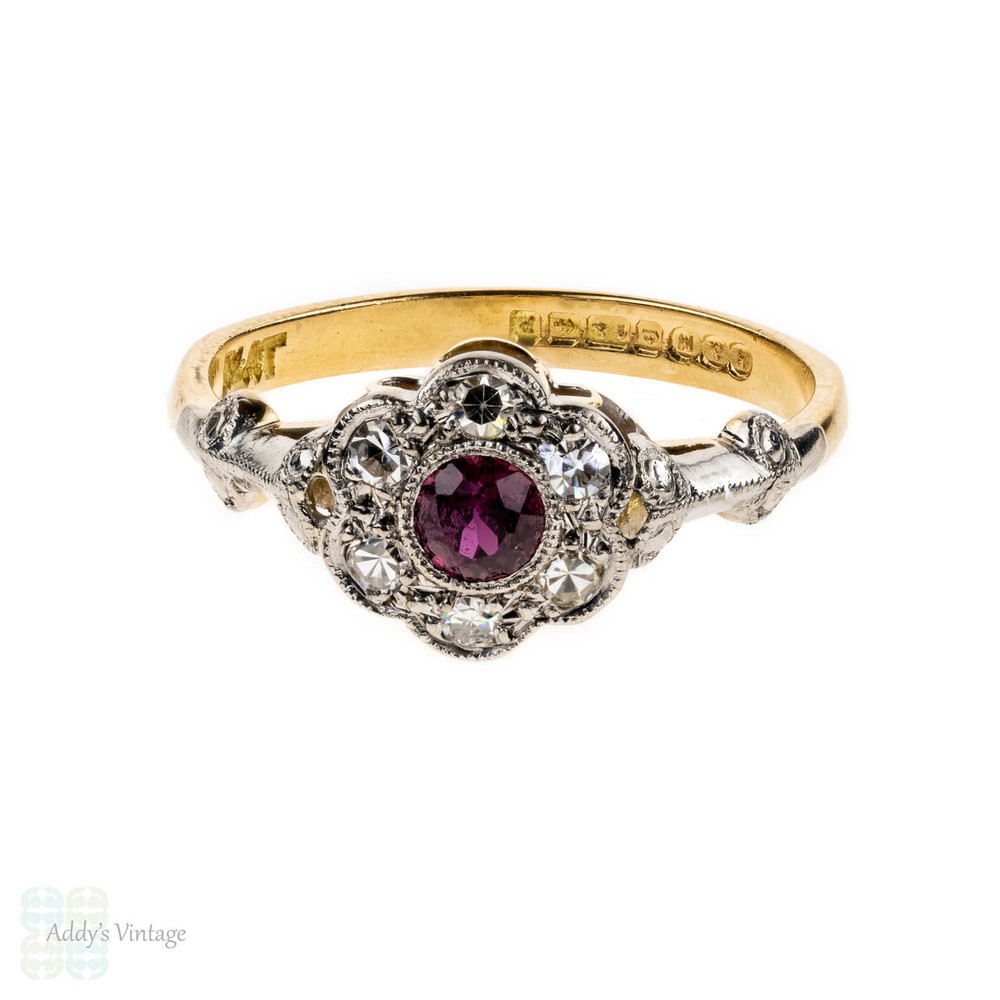 RESERVED. 1930s Ruby & Diamond Engagement Ring, Fluted Floral Shape Cluster Ring. 18ct & Platinum.