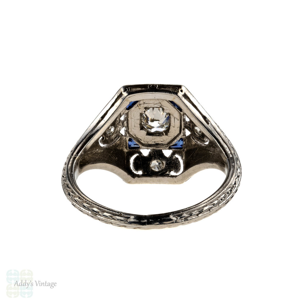 1920s Diamond & Sapphire Engagement Ring, Engraved Platinum Art Deco Ring.