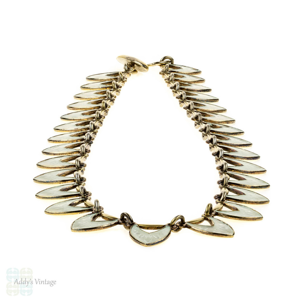 Danish Mid Century White Enamel Necklace, Sterling Silver Gilt Choker Circa 1950s.