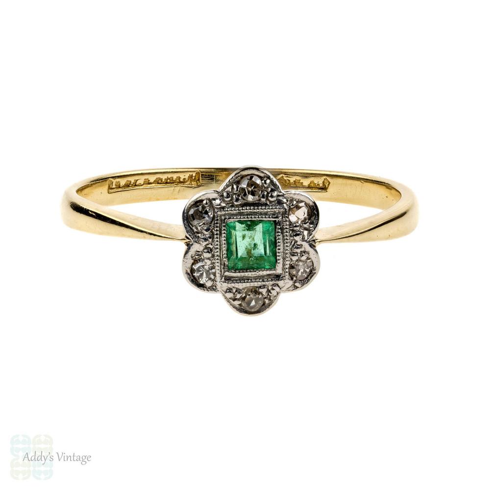 ec3746dbf82 RESERVED. Emerald & Diamond Engagement Ring, 1920s Art Deco Flower ...