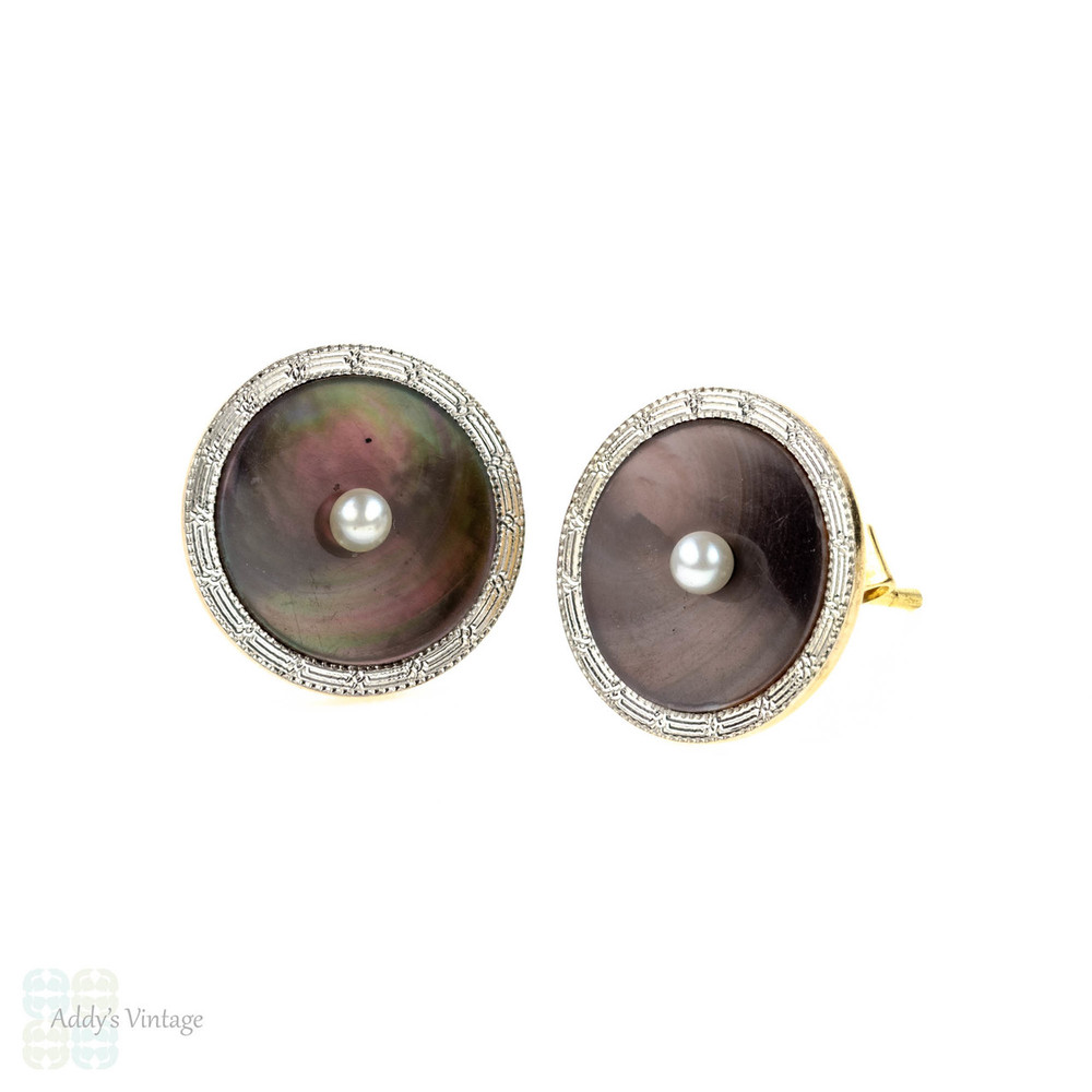Abalone Shell Earrings, Vintage 14k Conversion Stud Earrings with Engraved Edges.