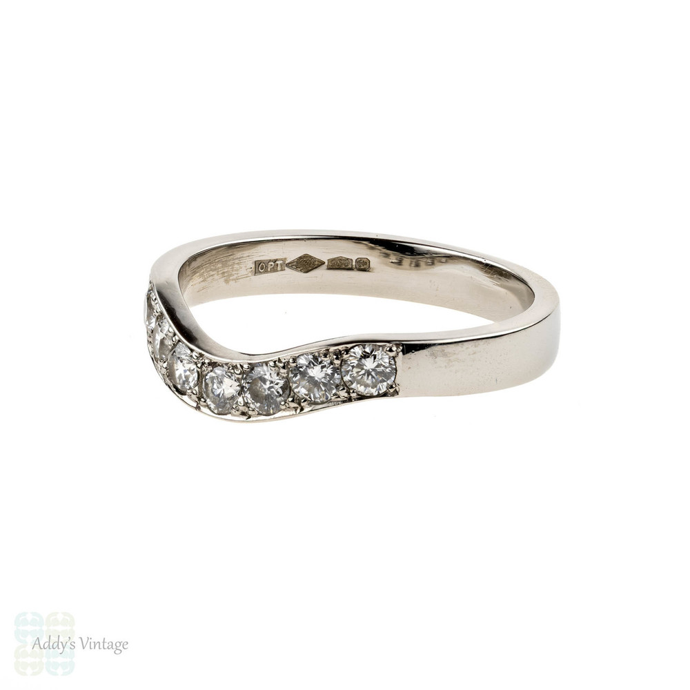 Curved Platinum Diamond Wedding Ring, Seven Stone Wishbone Shaped Bead Set Band. Size J / 4.8.