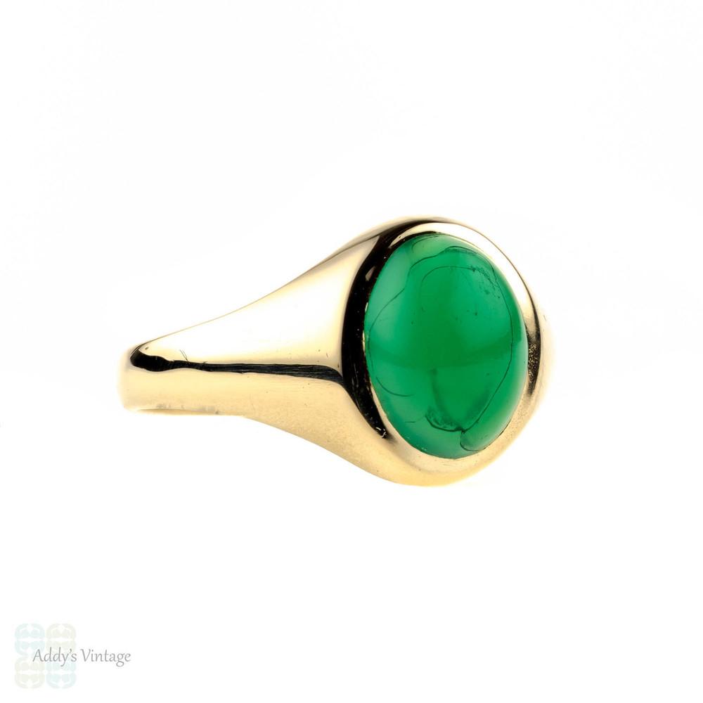 Chrysoprase 9ct Gypsy Set Ring, 1960s 9k Yellow Gold Green Gem Ring.