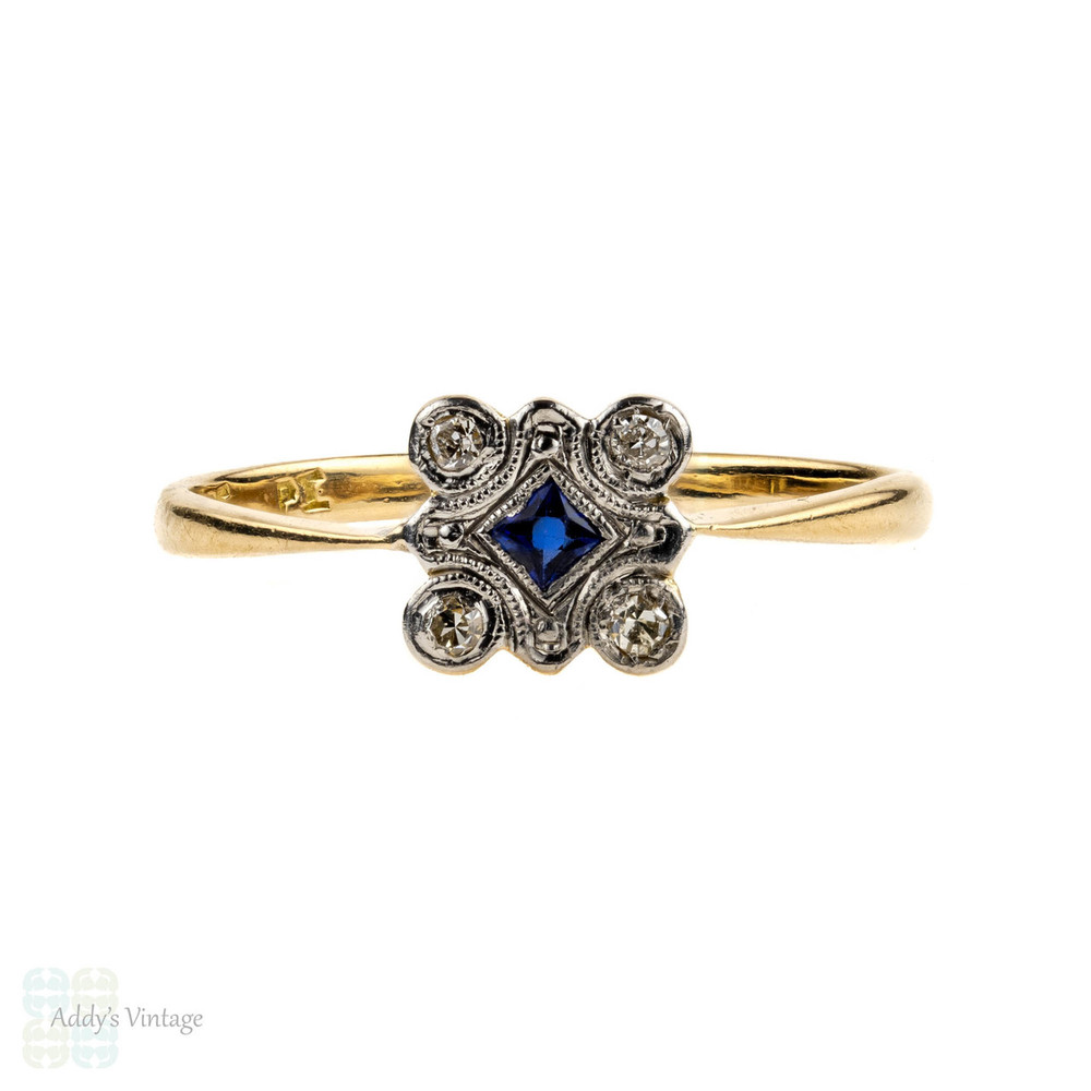 French Cut Sapphire & Diamond Square Panel Ring. Art Deco, 18ct & Platinum.
