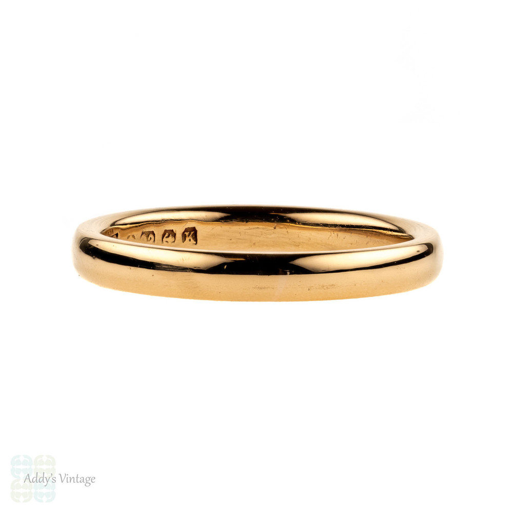 1930s 22ct Gold Wedding Ring, Court Fit 22k Vintage Ladies Band. Size H.75 / 4.25.