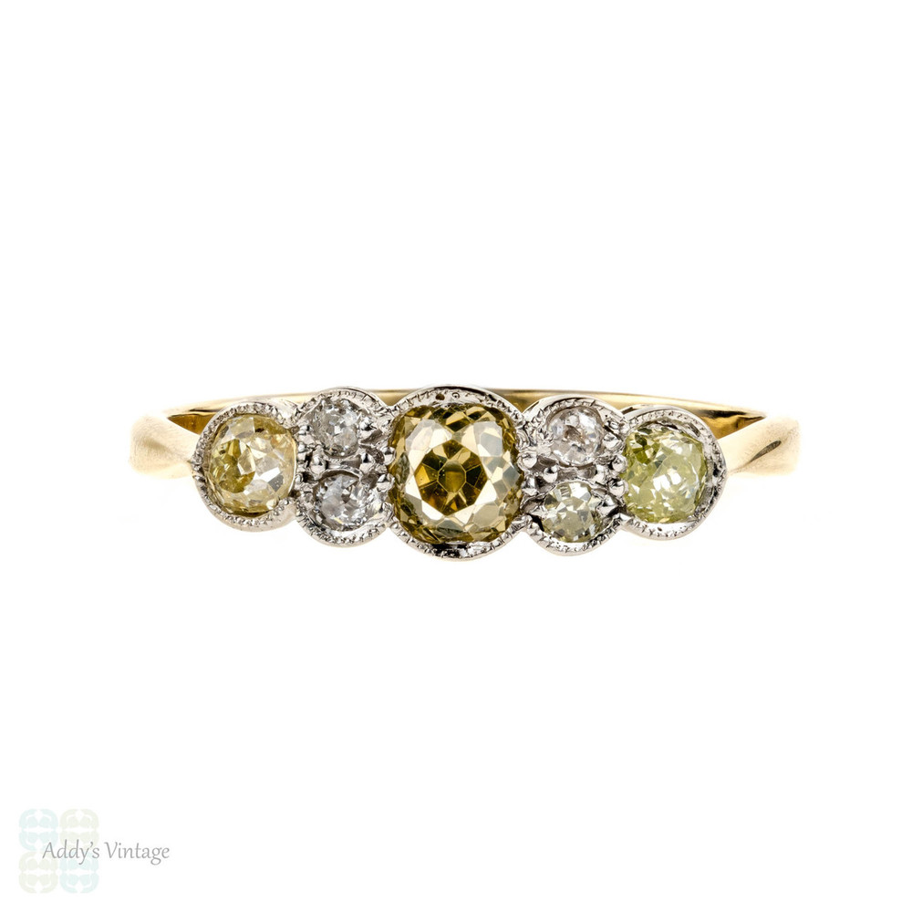 Victorian Old Mine Cut Diamond Ring, Seven Stone Unique Engagement Ring. 18ct Yellow Gold & Platinum.