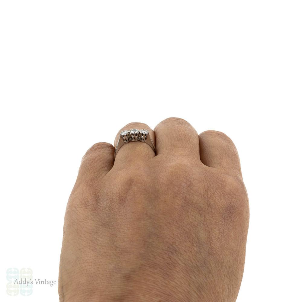 Mid Century Three Stone Diamond Engagement Ring, Classic 18ct White Gold & Platinum Ring.