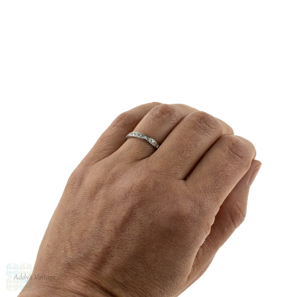 Art Deco Diamond Wedding Ring, Flower Engraved Square Design. 18ct Gold & Platinum, Size M.5 / 6.5.