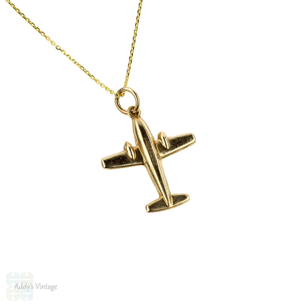 Vintage 9ct Air Plane Pendant, Small 9k Airplane Travel Charm on Chain, Circa 1970s.