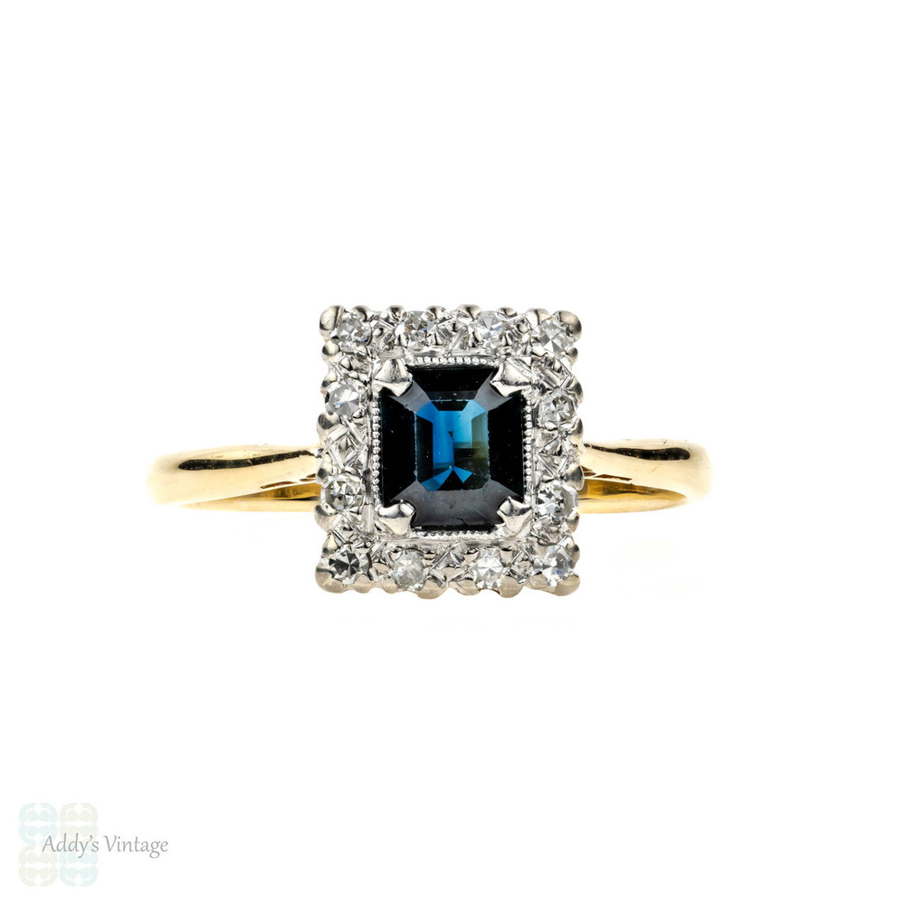 Vintage Sapphire & Diamond Engagement Ring, Rectangle Diamond Halo. Circa 1940s, 18ct Gold & Platinum.