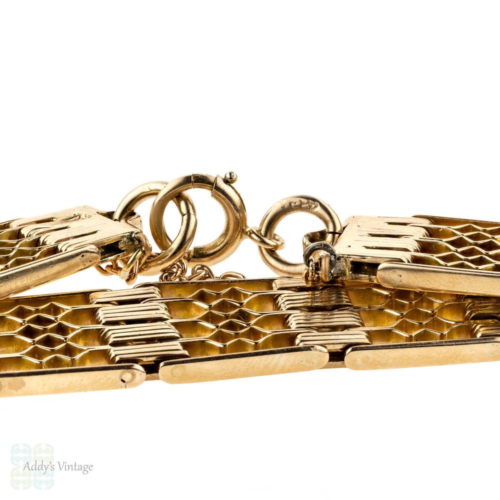 Victorian 15ct Gate Link Bracelet, Antique 15k Rose Gold Flexible Bracelet, Circa 1890s.