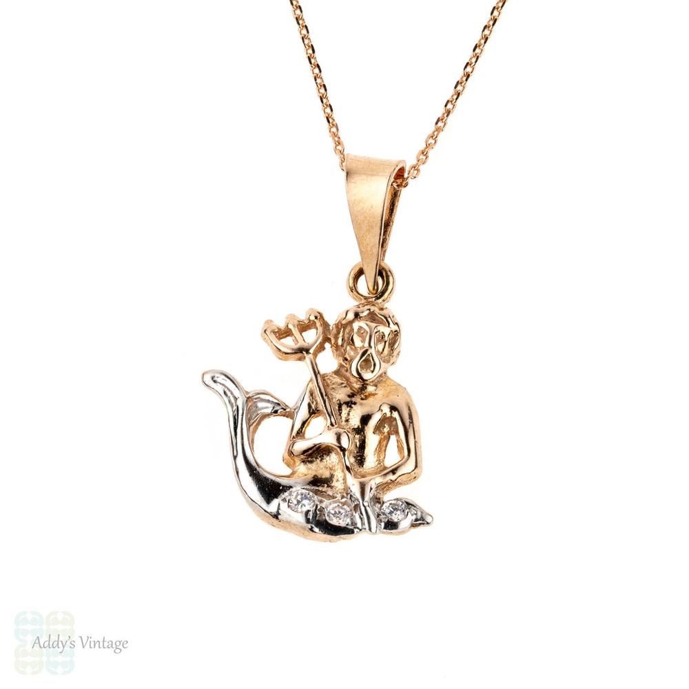 Russian Vintage Poseidon Pendant, God of the Sea 14k Rose & White Gold Charm on 9k Chain.
