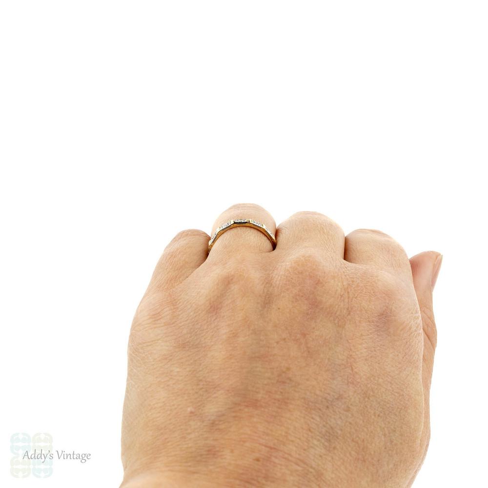 Vintage Diamond Wedding Ring, Engraved Eternity Band. 18ct & Platinum, Size N / 6.75.