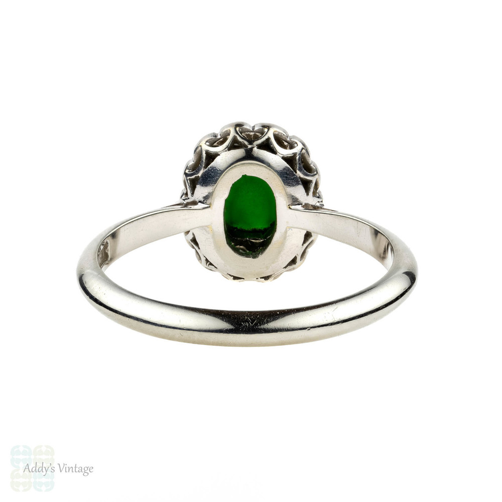 Jade & Diamond Ring, Art Deco 18ct & Platinum Cocktail Ring. Circa 1930s.
