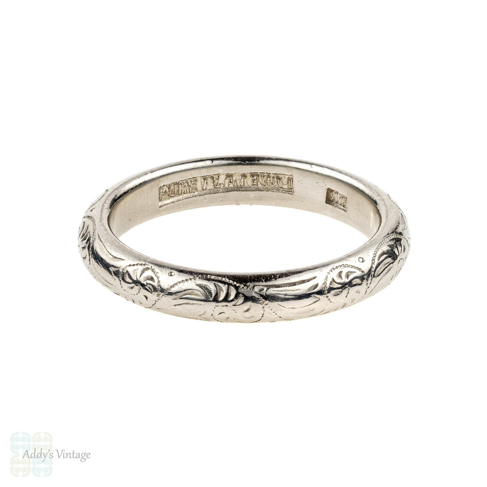 Engraved Platinum Wedding Ring, Vintage Heavy Ladies D Shape Band. Size K.75 / 5.75.