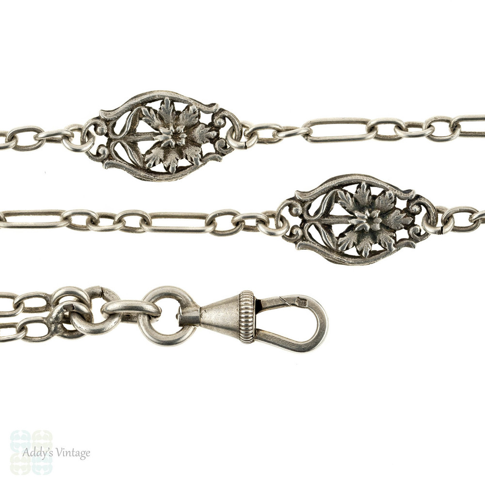 Floral Art Nouveau Antique French Chain, 800-900 Silver Long Guard. 140 cm / 55 inches.