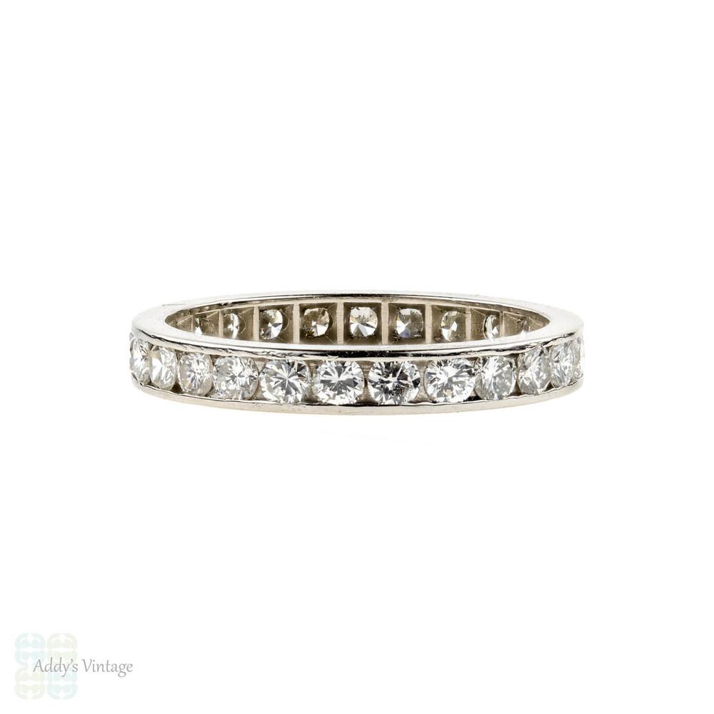 Vintage Diamond Eternity Ring, 0.80 ctw Channel Set Platinum Wedding Band. Size K / 5.25.