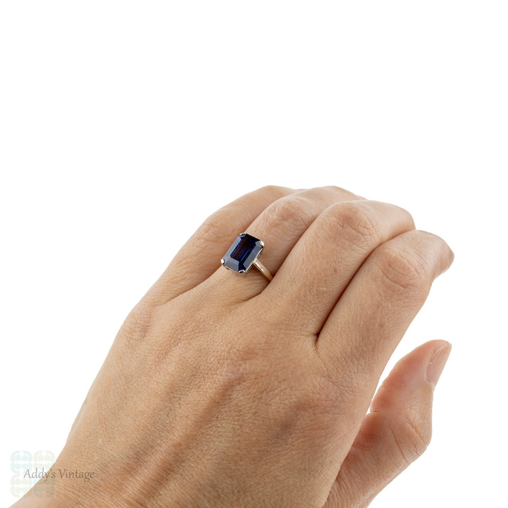 Vintage Synthetic Sapphire Solitaire Ring, Large 1940s Emerald Cut 9ct Gold Ring.