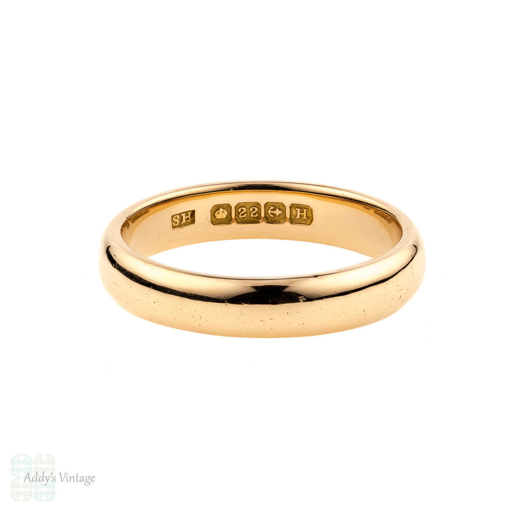 Art Deco 22ct Gold Wedding Ring, 1930s 22k Vintage Band. Size O / 7.25.