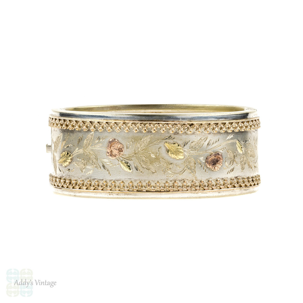 Antique Victorian Wide Bangle Bracelet, 9ct Rose Design Overlay. Circa 1880s