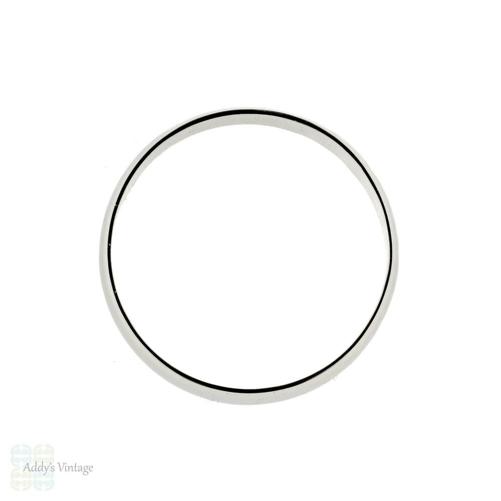 Platinum Men's Wedding Ring, Medium Width D Shape Profile Vintage Band. Size S.5 / 9.5.