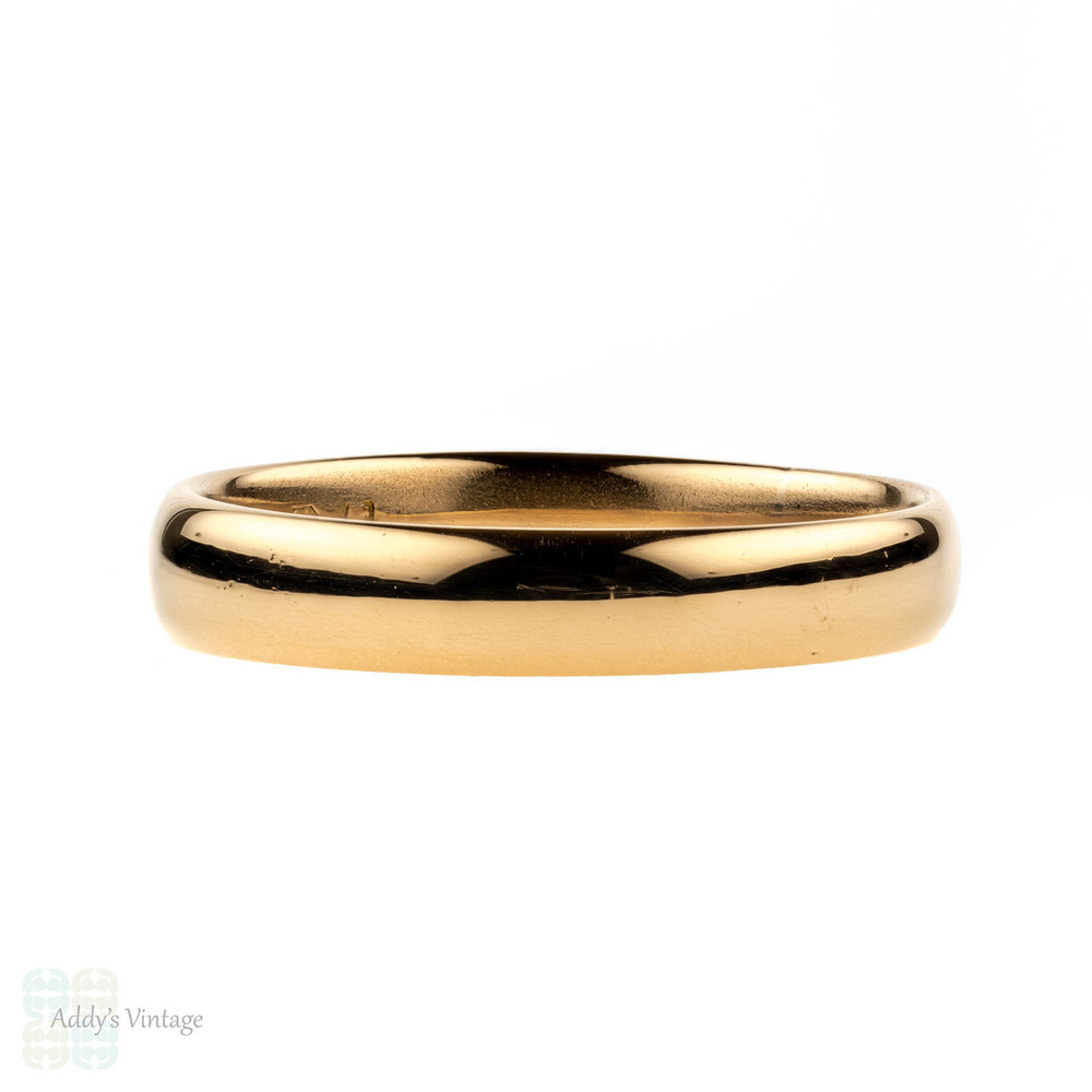 Victorian 22ct Gold Wedding Ring, Antique Court Comfort Fit 22k Band. Circa 1880s, Size Q / 8.25.