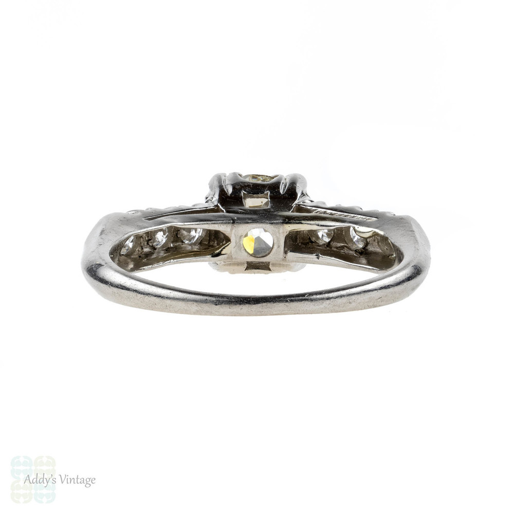 Old European Cut Diamond Engagement Ring, Triple Claw Mount 1930s Ring, 0.72ct.