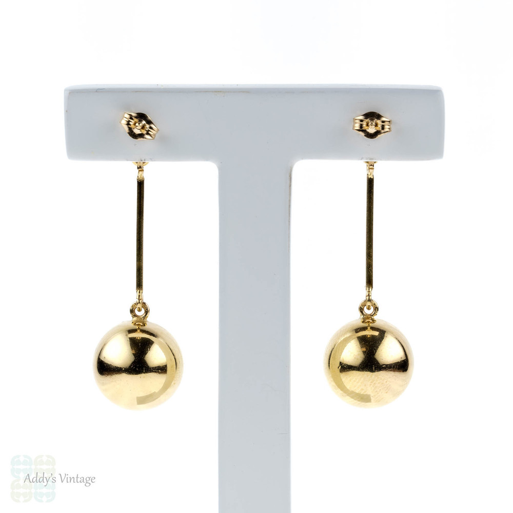 Vintage 9ct Ball Earrings, Long 9k Yellow Gold Sphere Dangle Earrings.