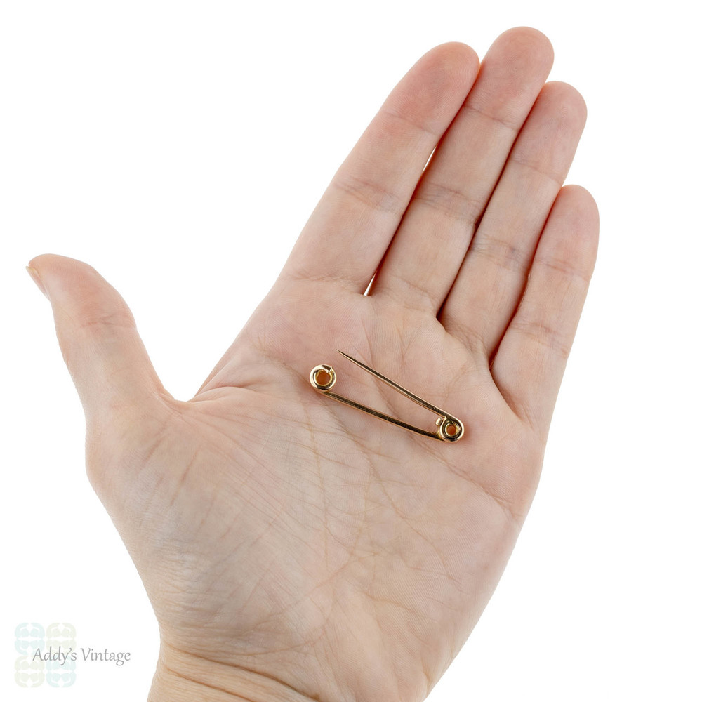 Victorian Large 15k Rose Gold Safety Pin, Antique 15ct Gold Pin Brooch.