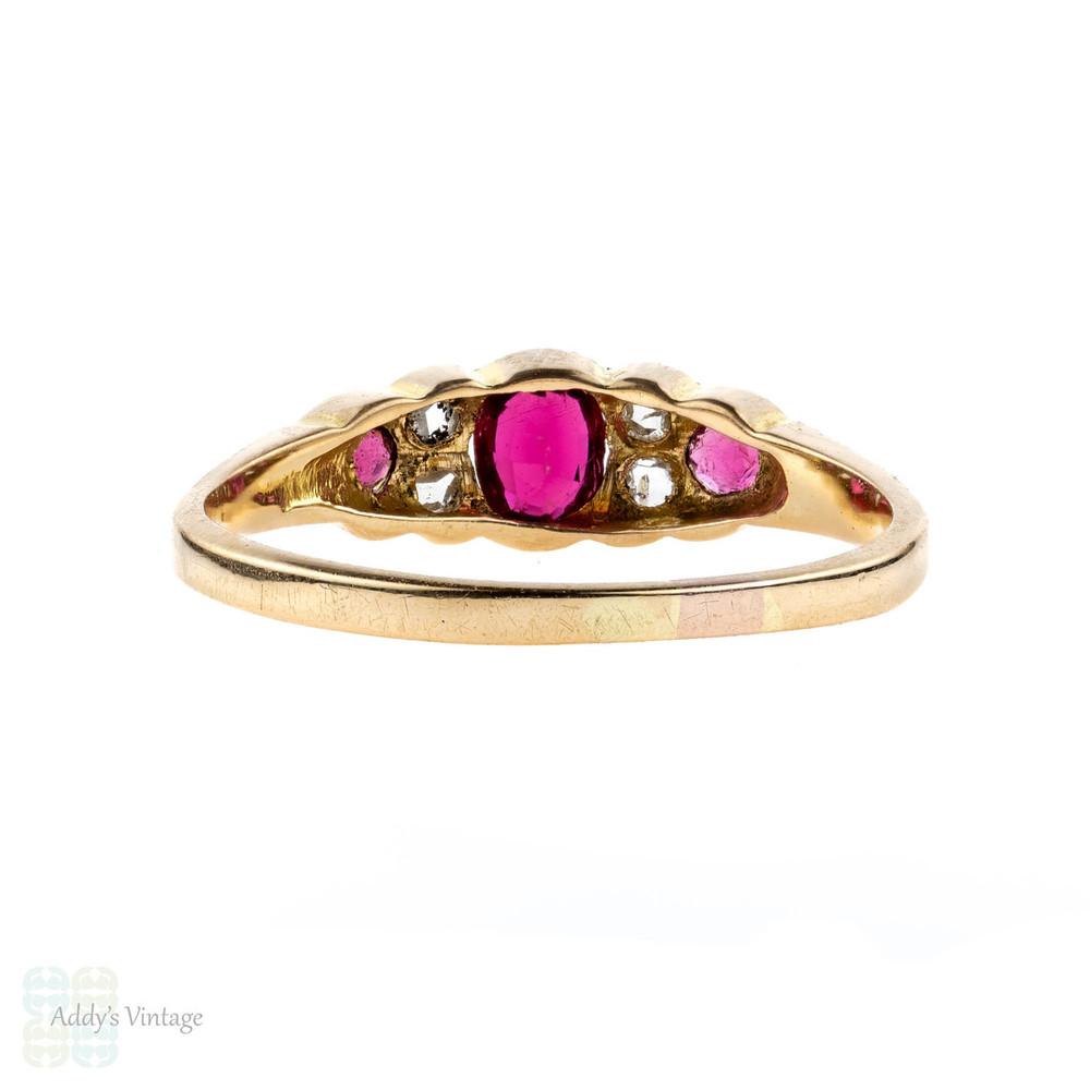 Pink Tourmaline & Diamond Ring, 18k Art Deco 1910s Antique Ring. 18ct Yellow Gold.