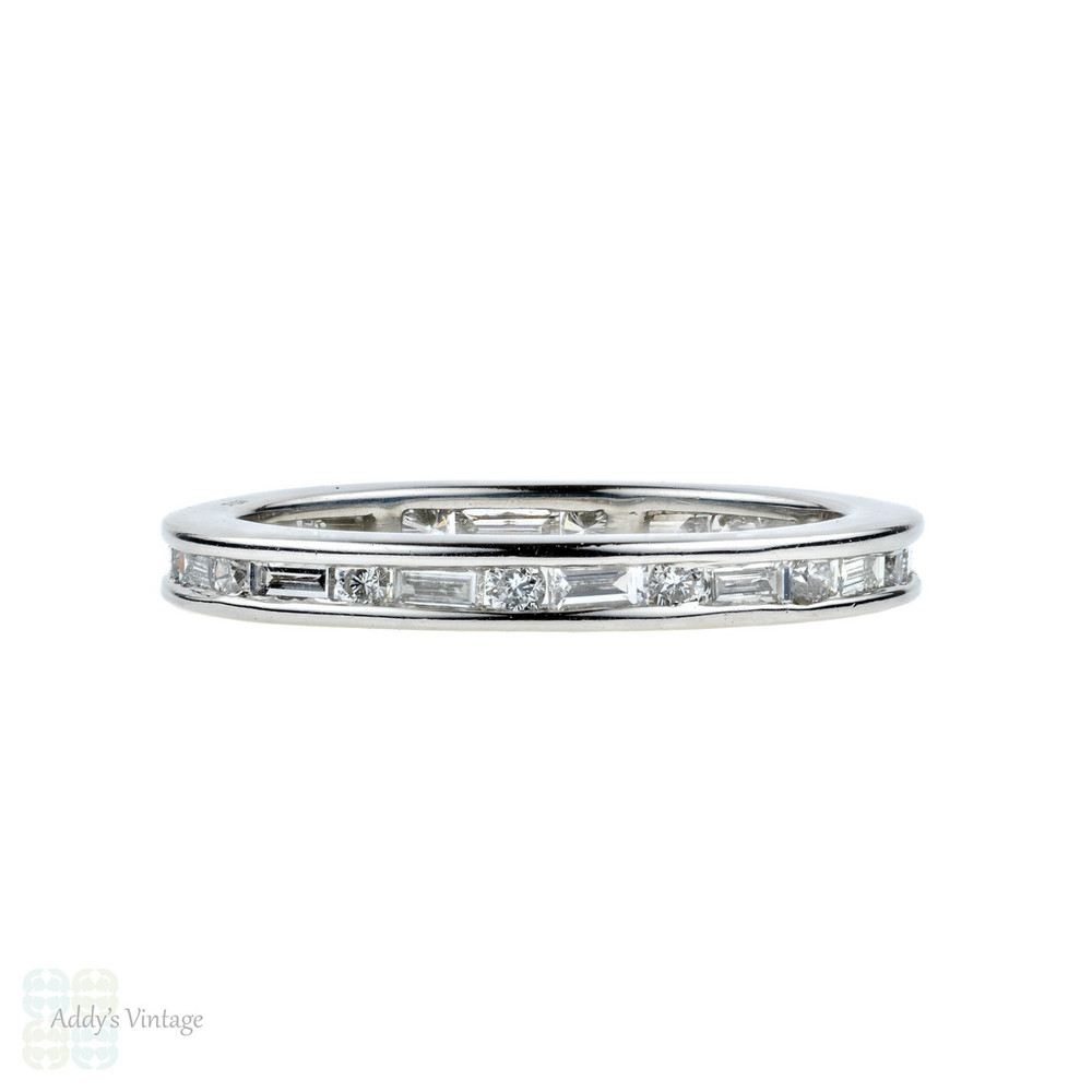 Baguette & Round Diamond Eternity Ring, Platinum Channel Set Wedding Band. Size M.5 / 6.5.