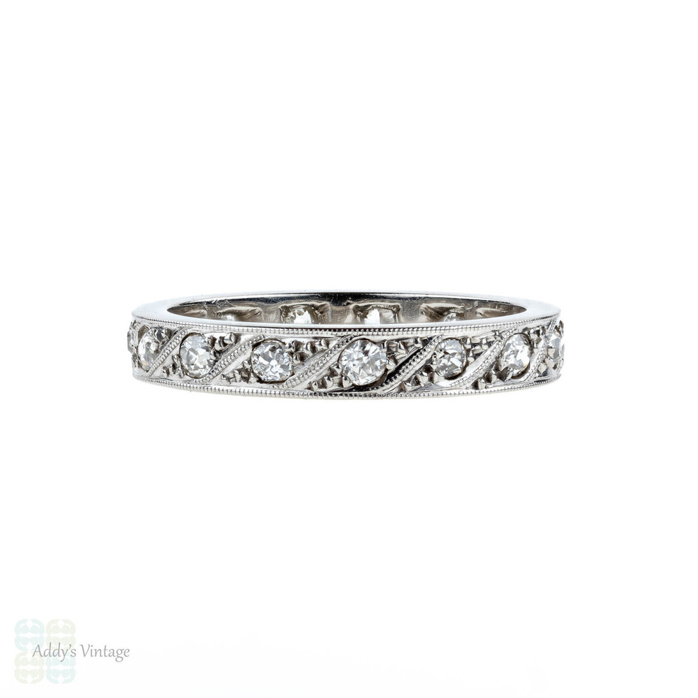 Art Deco Diamond 18k Eternity Ring, Vintage 18ct White Gold Wedding Band. Size L.25 / 6.