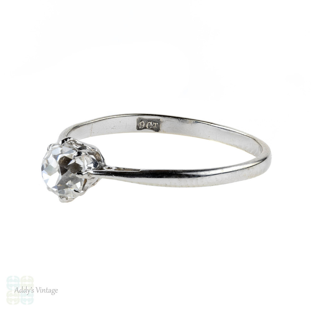 Old Mine Cut Diamond Engagement Ring, Antique 9ct White Gold Solitiaire.